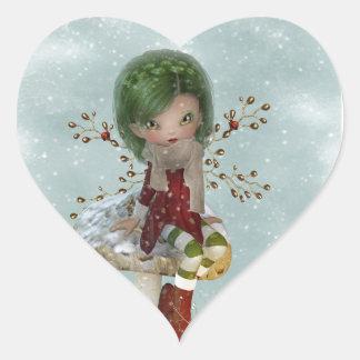 winter green heart sticker
