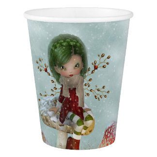winter green paper cup