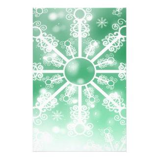Winter Green Snowflake Stationery