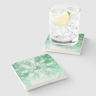 Winter Green Snowflake Stone Beverage Coaster