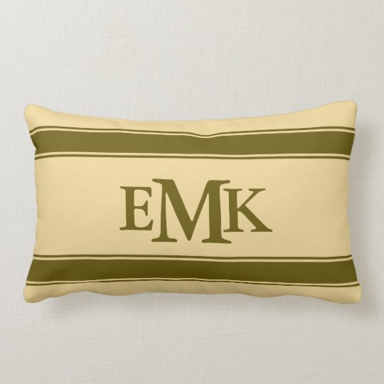 Winter Green Stripes on Cream Monogram Lumbar Pillow