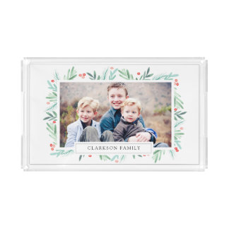 Winter Greens Holiday Photo Acrylic Tray