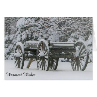 Winter Greeting Card with Wagon