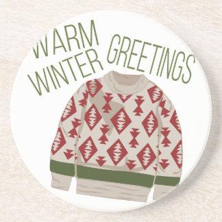 Winter Greetings Beverage Coasters