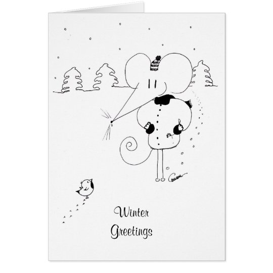 Winter Greetings Mouse and Robin Christmas Card