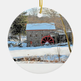 WINTER GRIST MILL CERAMIC ORNAMENT