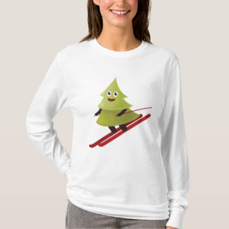 Winter Happy Pine Tree On Ski T-Shirt
