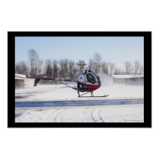 Winter Helicopter Flight Poster