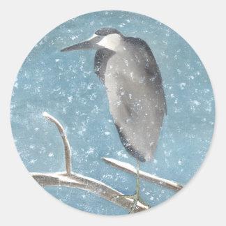 Winter Heron Classic Round Sticker