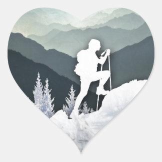 Winter Hike Heart Sticker