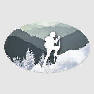 Winter Hike Oval Sticker