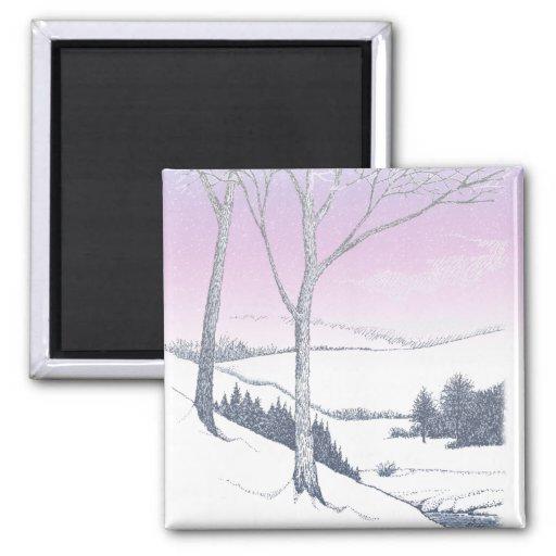 Winter Hillside Refrigerator Magnet