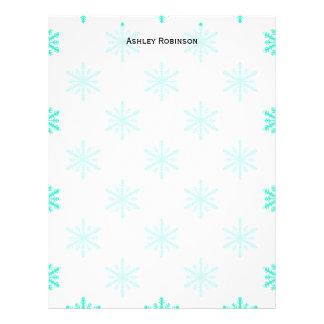 Winter Holiday Aqua Snowflake Letterhead Design