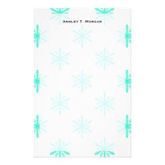 Winter Holiday Aqua Snowflake Personalized Stationery