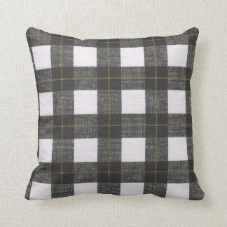 Winter holiday black white gold plaid decor pillow