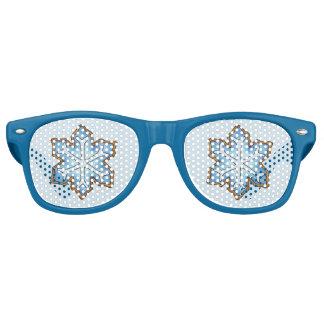 Winter Holiday Blue Hanukkah Christmas Snowflake Retro Sunglasses