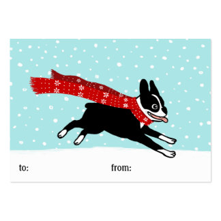 Winter Holiday Boston Terrier Wearing Red Scarf Large Business Card