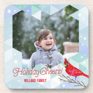 Winter Holiday Cheers Flurries & Cardinals Beverage Coaster