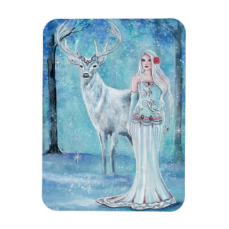 Winter Holiday goddess with deer poster  by Renee Magnet