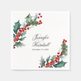 Winter Holiday Greenery Watercolor Wedding Disposable Napkins