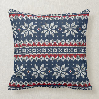 Winter Holiday Knitted Pattern Throw Pillow