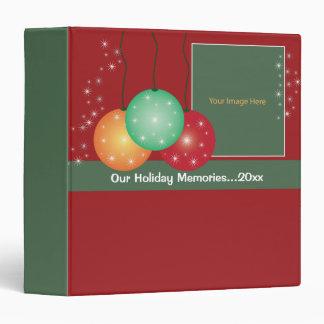 Winter Holiday Ornaments Memories Photo Album Vinyl Binder