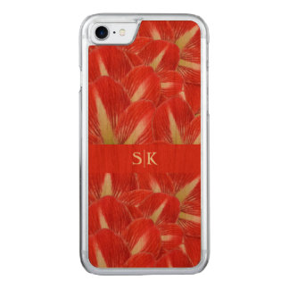 Winter Holiday Red Amaryllis Floral Monogram Carved iPhone 8/7 Case
