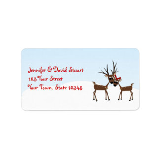Winter Holiday Reindeer Family Label