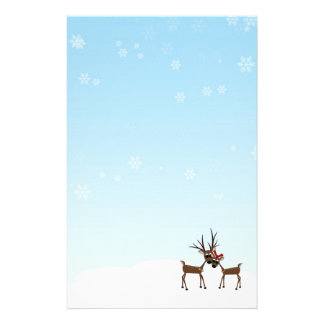 Winter Holiday Reindeer Family Stationery