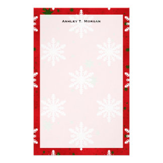 Winter Holiday Snowflake Red Green Starry BG Personalized Stationery
