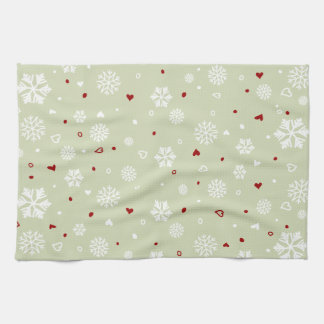 Winter Holiday Snowflakes Hearts on Green Kitchen Towel