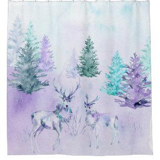 Winter Holiday - Watercolor Deer Scene