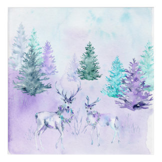 Winter Holiday - Watercolor Deer Scene Acrylic Print