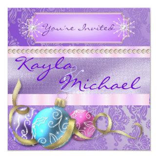 "Winter Holiday Wedding Pastel Ornament Invitation 5.25"" Square Invitation Card"