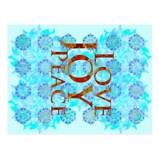 Winter Holidays | Love Joy Peace | Blue Purple Postcard
