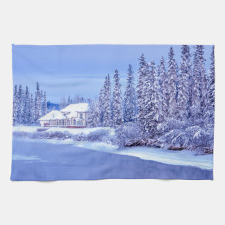 Winter Home Sunrise On Alaska River Hand Towels