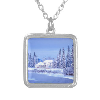 Winter Home Sunrise On Alaska River Silver Plated Necklace