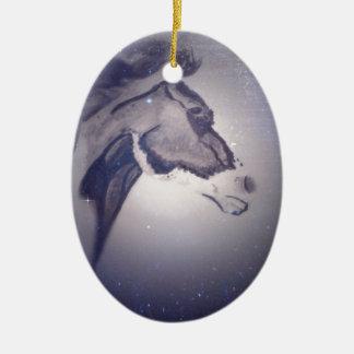 Winter Horse Ceramic Oval Ornament