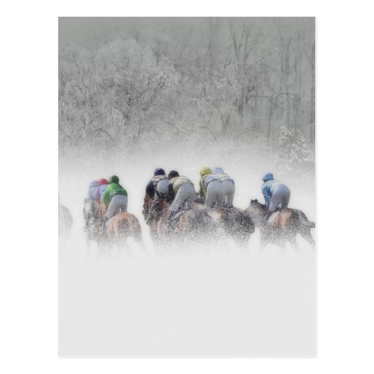 Winter Horse Race Postcard