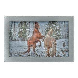 Winter Horses in Snowy Field Rectangular Belt Buckles