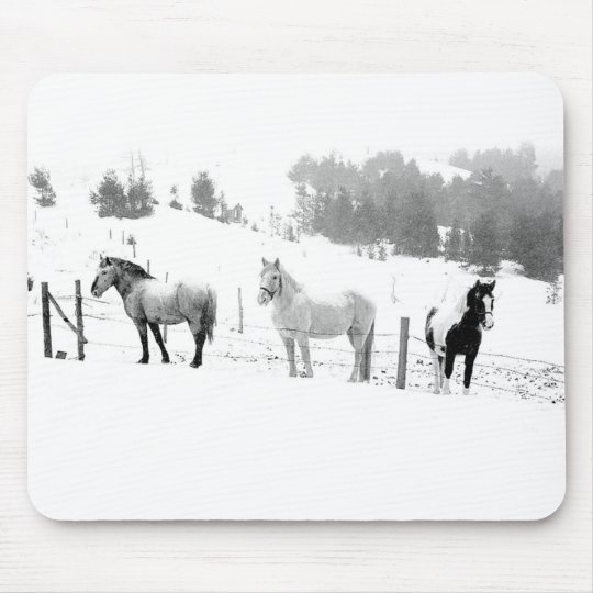 Winter Horses Mouse Pad