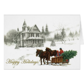 Winter House and Horses Custom Christmas Cards