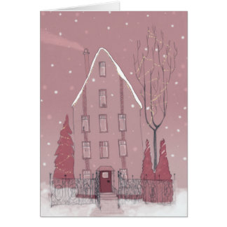 Winter house card
