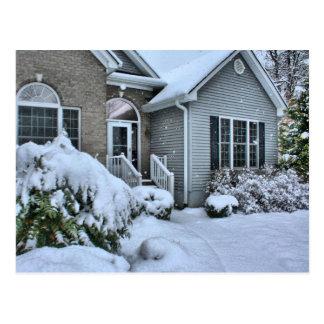 Winter houses postcard