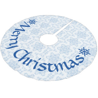 Winter-Ice Blue Snowflakes Brushed Polyester Tree Skirt