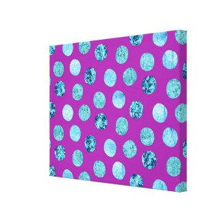 Winter Ice Polka Dots Purple Canvas Print