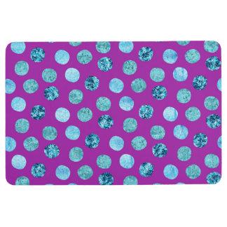 Winter Ice Polka Dots Purple Floor Mat