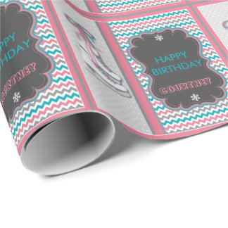 Winter Ice Skating Happy Birthday Personalized Wrapping Paper