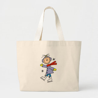 Winter Ice Skating Large Tote Bag