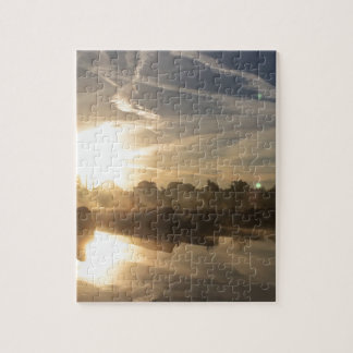 Winter in a marina - Canal life. Jigsaw Puzzle